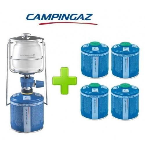 LAMPADA LANTERNA GAS LUMOGAZ PLUS CAMPINGAZ 80 WATT + 4 PEZZI CARTUCCIA CV300