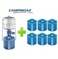 LAMPADA LANTERNA GAS LUMOGAZ PLUS CAMPINGAZ 80 WATT + 6 PEZZI CARTUCCIA CV300