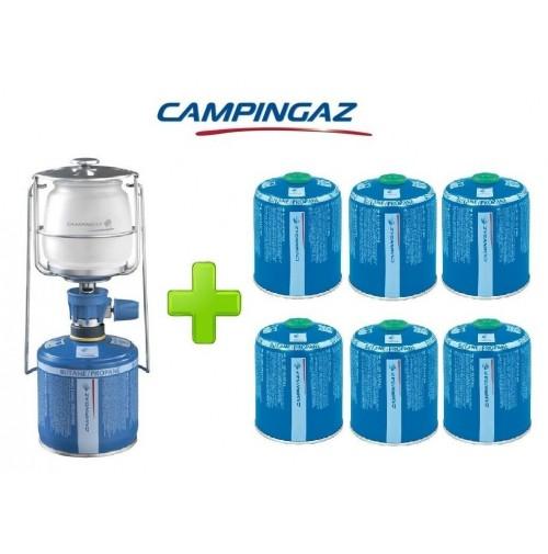 LAMPADA LANTERNA GAS LUMOGAZ PLUS CAMPINGAZ 80 WATT + 6 PEZZI CARTUCCIA CV470