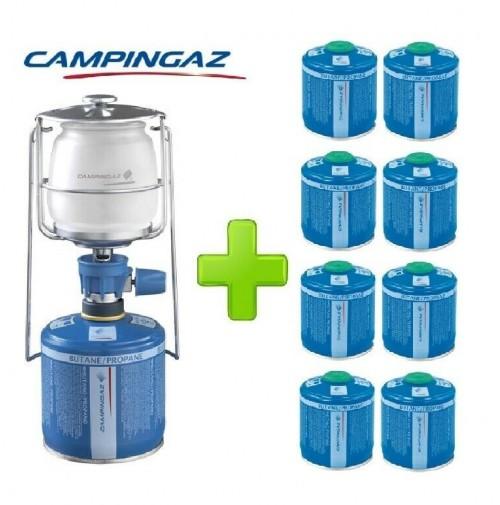 LAMPADA LANTERNA GAS LUMOGAZ PLUS CAMPINGAZ 80 WATT + 8 PEZZI CARTUCCIA CV300