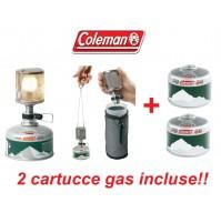 LANTERNA CAMPEGGIO A GAS F1 LITE COLEMAN ULTRA LEGGERA + 2 CARTUCCE 220gr DI GAS
