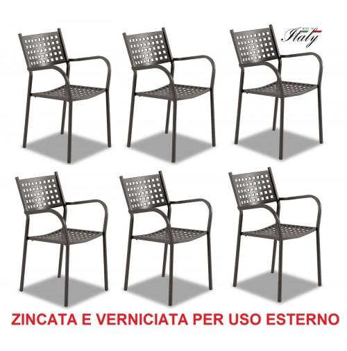 SEDIA POLTRONA PER ESTERNO ALICE FERRO ANTICO --- OFFERTA 6 PEZZI --- MADE ITALY