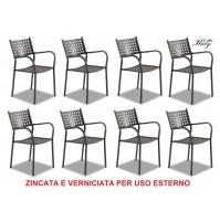 SEDIA POLTRONA PER ESTERNO ALICE FERRO ANTICO - OFFERTA 8 PEZZI - MADE ITALY