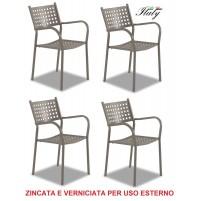 SEDIA POLTRONA PER ESTERNO COLORE FANGO TORTORA - OFFERTA 4 PEZZI - MADE ITALY