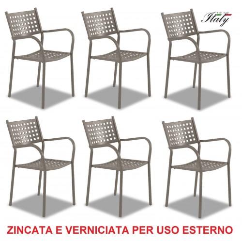 SEDIA POLTRONA PER ESTERNO FANGO / TORTORA --- OFFERTA 6 PEZZI --- MADE ITALY