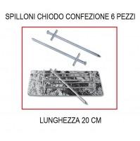 SPILLONI CHIODO DA 20 CM CONFEZIONE DA 6 PEZZI -PER TENDA CAMPEGGIO E VERANDA