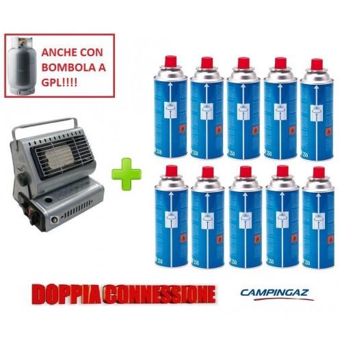 STUFA STUFETTA PORTATILE A GAS DOPPIA CONNESSIONE + 10 CARTUCCIE GAS CAMPINGAZ