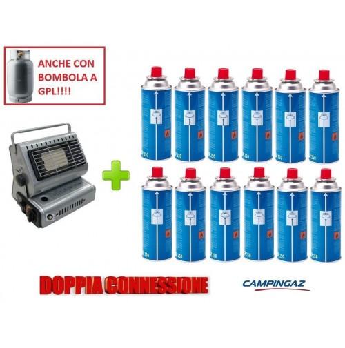 STUFA STUFETTA PORTATILE A GAS DOPPIA CONNESSIONE + 12 CARTUCCIE A GAS CAMPINGAZ