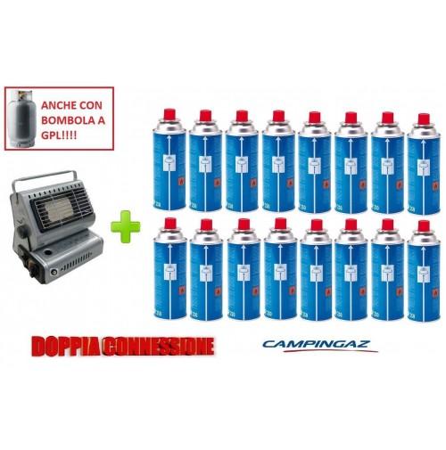 STUFA STUFETTA PORTATILE A GAS DOPPIA CONNESSIONE + 16 CARTUCCIE A GAS CAMPINGAZ