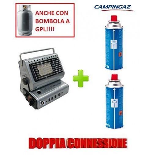 STUFA STUFETTA PORTATILE A GAS DOPPIA CONNESSIONE + 2 CARTUCCIE GAS CAMPINGAZ