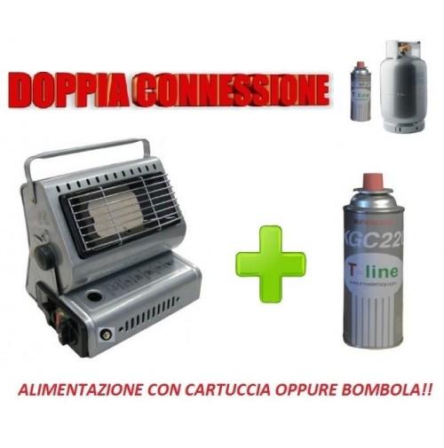 STUFA STUFETTA PORTATILE A GAS - DOPPIA CONNESSIONE - INCLUSA 1 CARTUCCIA A GAS