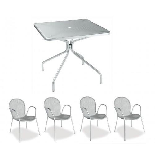 Tavoli Da Giardino Emu.Tavolo Esterno Cambi 801 80x80 Cm Colore Argento 4 Poltrone