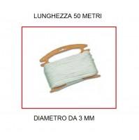 TRECCIA BIANCA DA 50 METRI - DIAMETRO 3 MM DI SPESSORE PER USO CAMPEGGIO