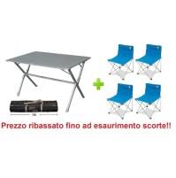 Tavolo alluminio campeggio Eureka 120x80x72h con sacca con 4 sedie richiudibili