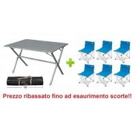 Tavolo alluminio campeggio Eureka 120x80x72h con sacca con 6 sedie richiudibili
