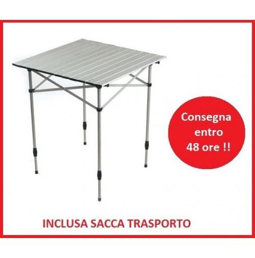 Tavolo campeggio AGILE a tapparella 70x70 gambe regolabili + borsa per trasporto