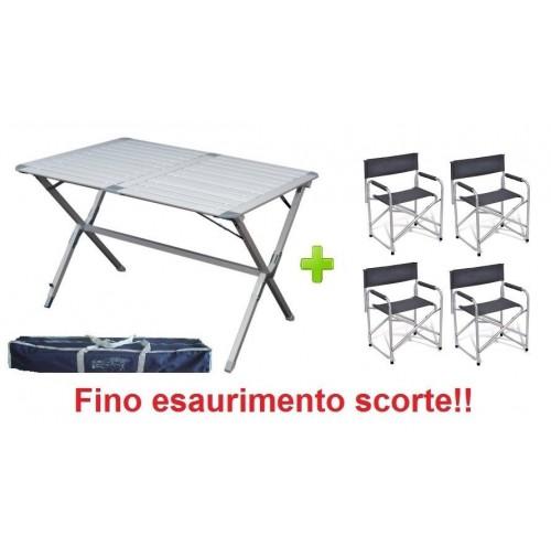 Tavolo campeggio alluminio Argo 110x70x72h richiudibile con 4 poltrone regista