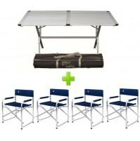 Tavolo da campeggio Genius 150x80x72H alluminio con sacca + 4 poltrone regista
