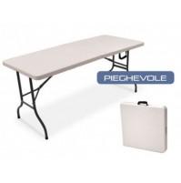 Tavolo pieghevole campeggio - catering piano polietilene 150x80 cm trasportabile