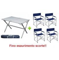 Tavolo tapparella campeggio Argo 110x70x72h alluminio + borsa + 4 sedie regista